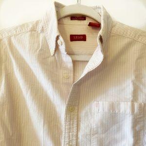 Men's casual long sleeve button up dress shirt.